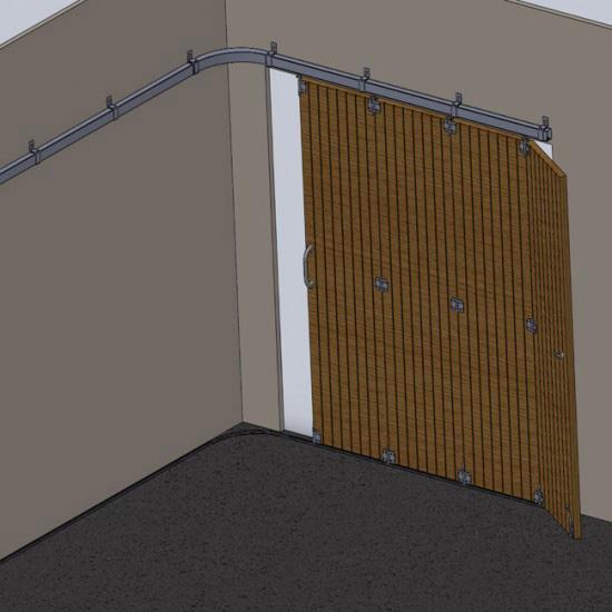 Herrajes puertas articuladas en curva