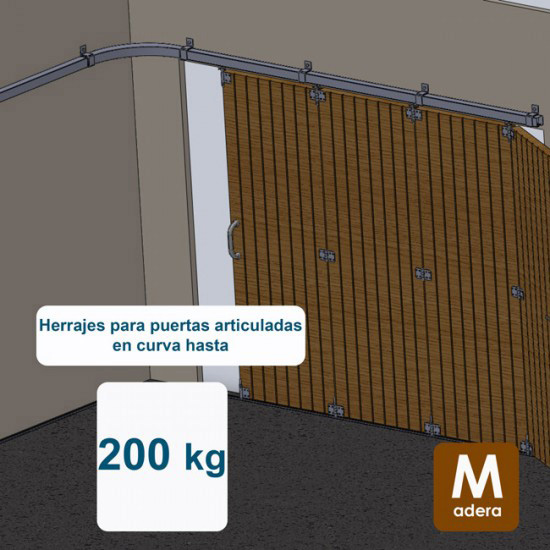 Herrajes puertas articuladas en curva hasta 200 Kg