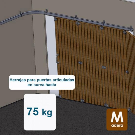 Herrajes puertas articuladas en curva hasta 75 Kg