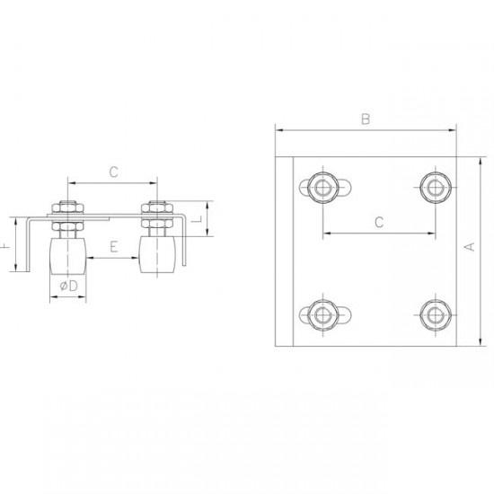 caja rodillos guia regulable puerta corredera