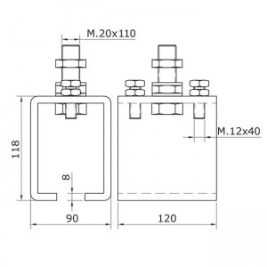 Dibujo técnico abrazadera raíl U-70 ajustable