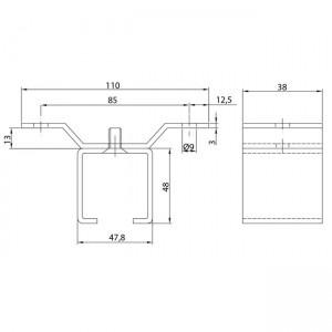 Dibujo técnico abrazadera raíl U-40 a techo INOX