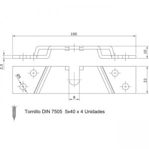Dibujo técnico Set adaptador a madera para rollapar U-30