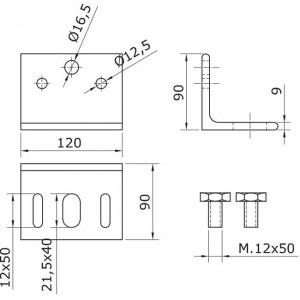 Dibujo técnico fijación a pared U-70