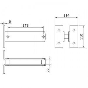 Dibujo técnico fijación regulable U-70
