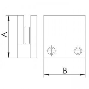 dibujo técnico pinza vidrio cuadrada plana