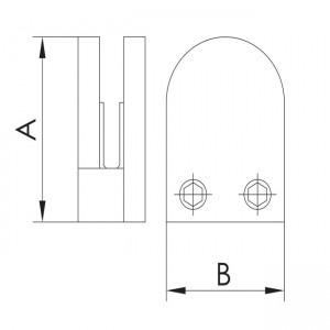 grapa vidrio curva plana