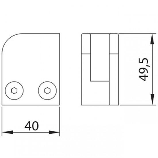 Dibujo técnico Grapa esquina plana izquierda