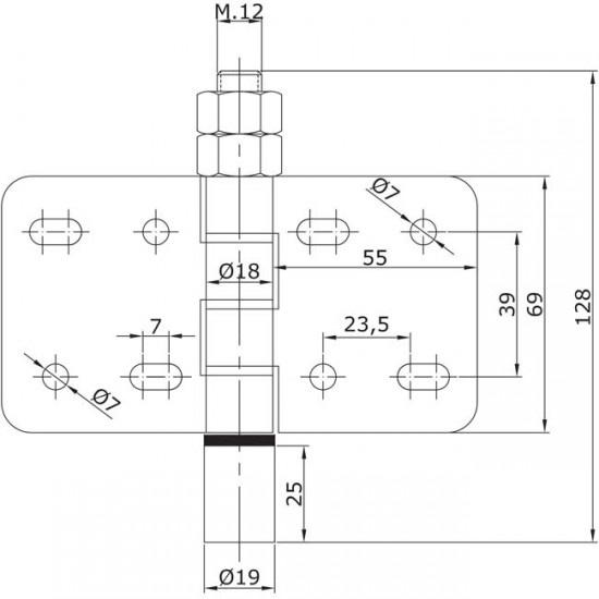 Dibujo técnico Guiador inferior atornillar central U-19