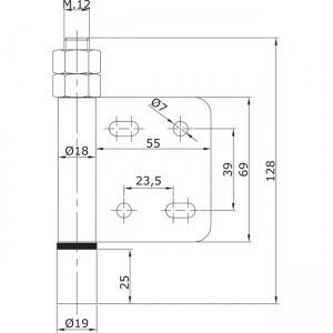 Dibujo técnico Guiador inferior atornillar extremo U-19