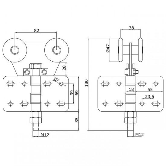Dibujo técnico Rollapar doble U-60 atornillar central