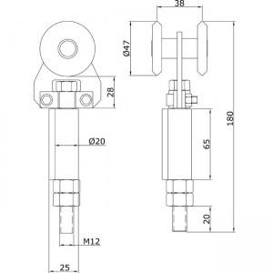 Dibujo técnico Rollapar simple soldar extremo U-60 INOX