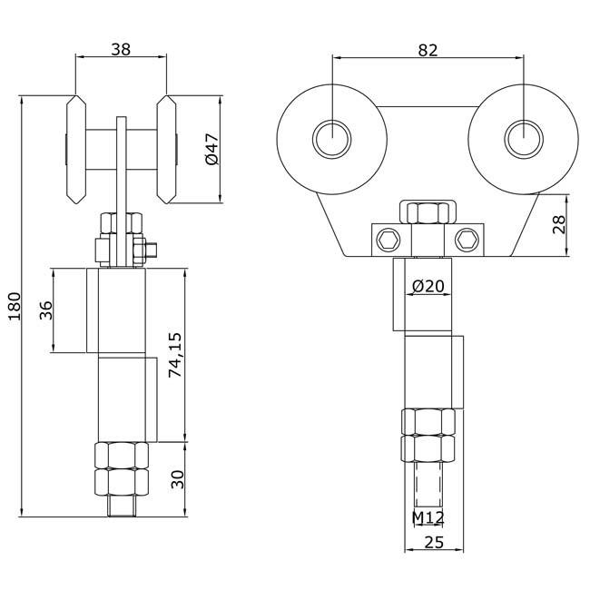 Herrajes para puertas rollapar doble u 60 soldar central for Puertas correderas curvas