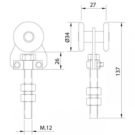 Dibujo técnico Rollapar simple U-40 nylon corto