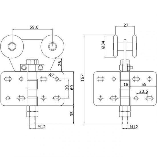 Dibujo técnico Rollapar doble U-40 nylon atronillar central