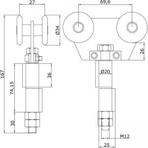 Dibujo técnico Rollapar doble U-40 soldar central