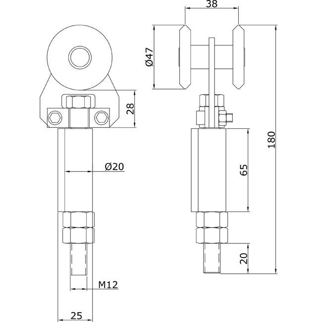 Herrajes para puertas rollapar simple u 60 soldar extremo for Puertas correderas curvas