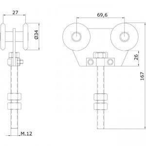 Dibujo técnico rollapar doble U-40 INOX
