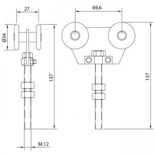 Dibujo técnico Rollapar doble U-40 nylon corto