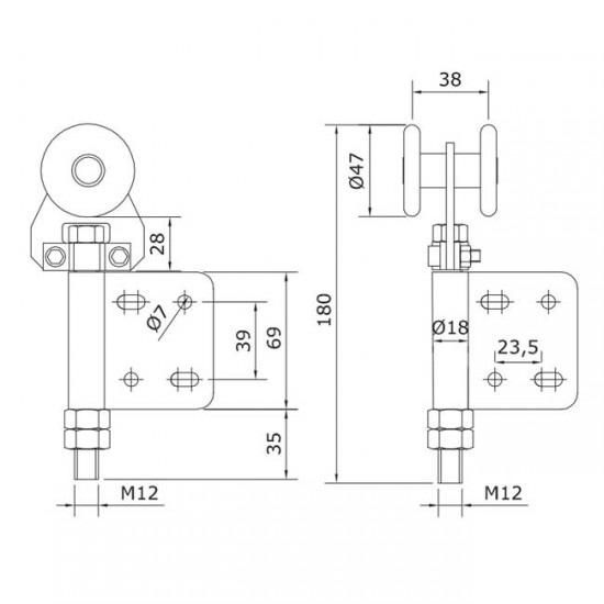 Dibujo técnico Rollapar simple U-60 atornillar extremo