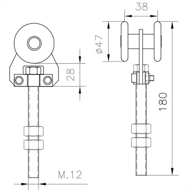 Herrajes para puertas rollapar simple u 60 acero for Herraje puerta corredera colgada