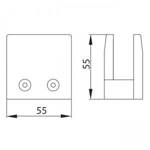 Dibujo técnico grapa cuadrada base plana vidrio 16 mm