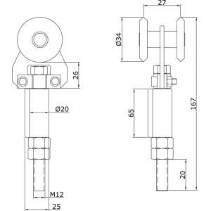 Dibujo técnico Rollapar simple U-40 soldar extremo INOX