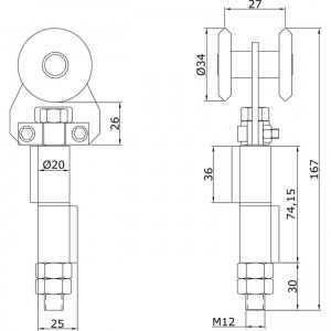 Dibujo técnico Rollapar simple U-40 soldar central