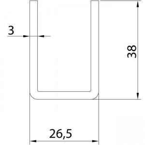 Dibujo técnico raíl inferior U-19 INOX