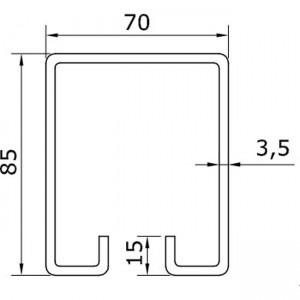 Dibujo técnico raíl superior U-70