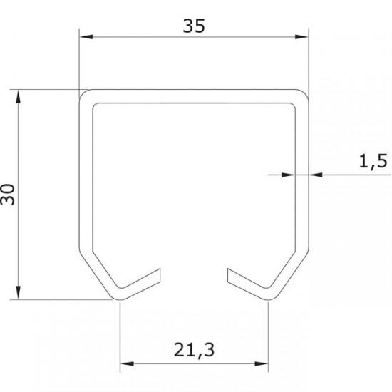 Dibujo técnico raíl superior U-30