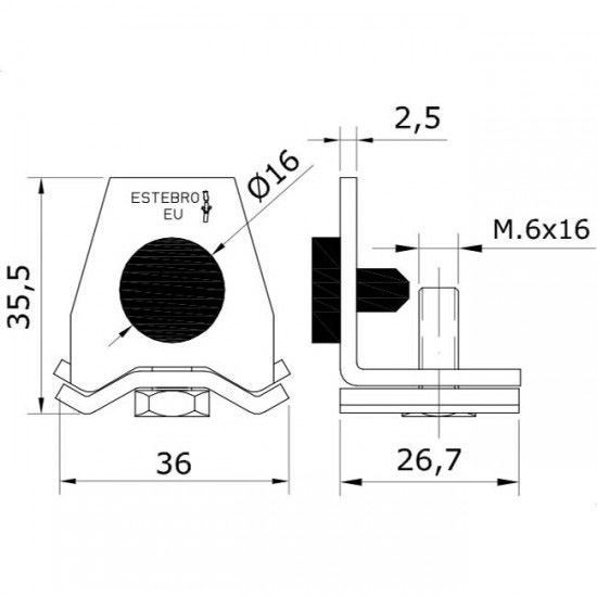 Dibujo técnico tope raíl U-40 INOX