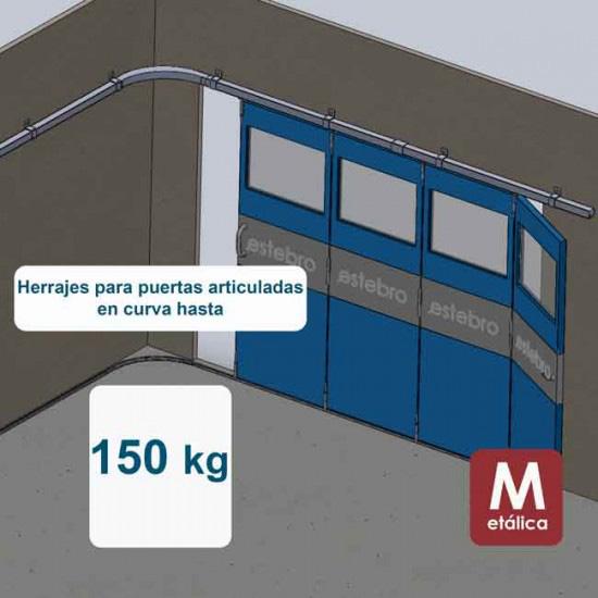 Herrajes puertas articuladas en curva hasta 150 Kg