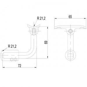 Dibujjo técnico Soporte tubo 90º ajustable