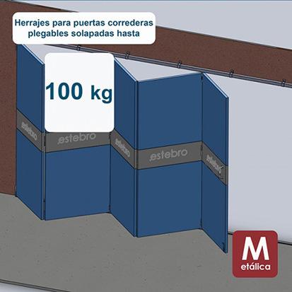 Herrajes puertas correderas plegables hasta 100 Kg