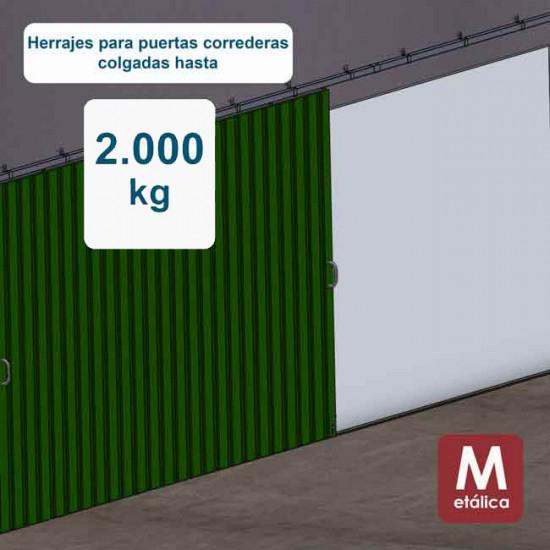 Herrajes puertas correderas hasta 2000 Kg - E2000