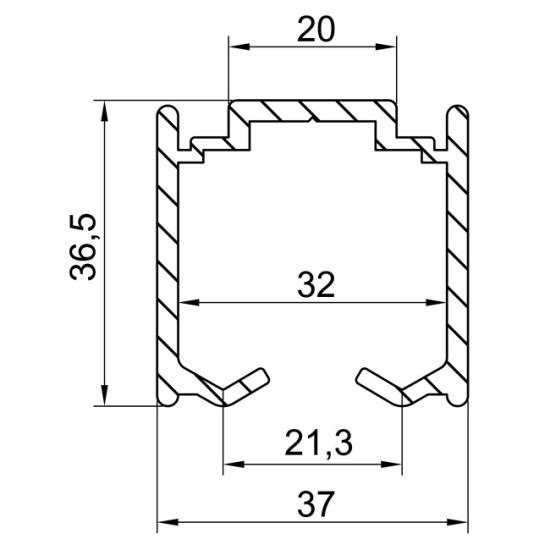 Plano 5752 Raíl Superior Aluminio U30 con pestaña