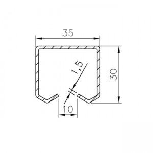 Plano raíl superior U30 Aluminio Simple